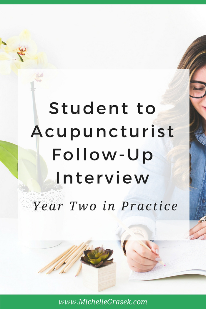 Wondering what it's like to be in practice? Follow acupuncturist Danielle Talley's journey from student to practitioner in this 3-part, 3-year series! www.michellegrasek.com